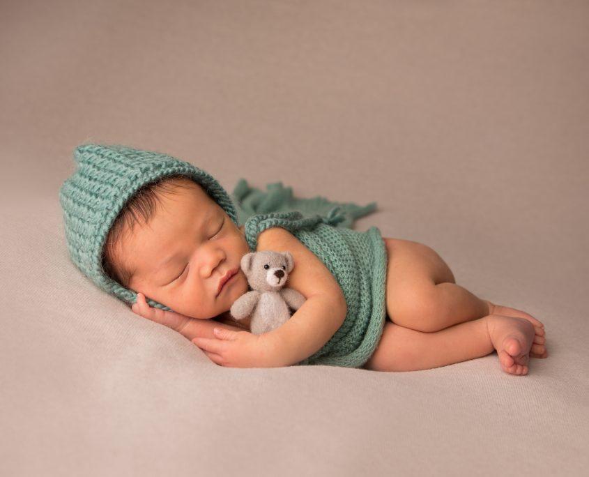 newborn with bear photo cumberland british columbia
