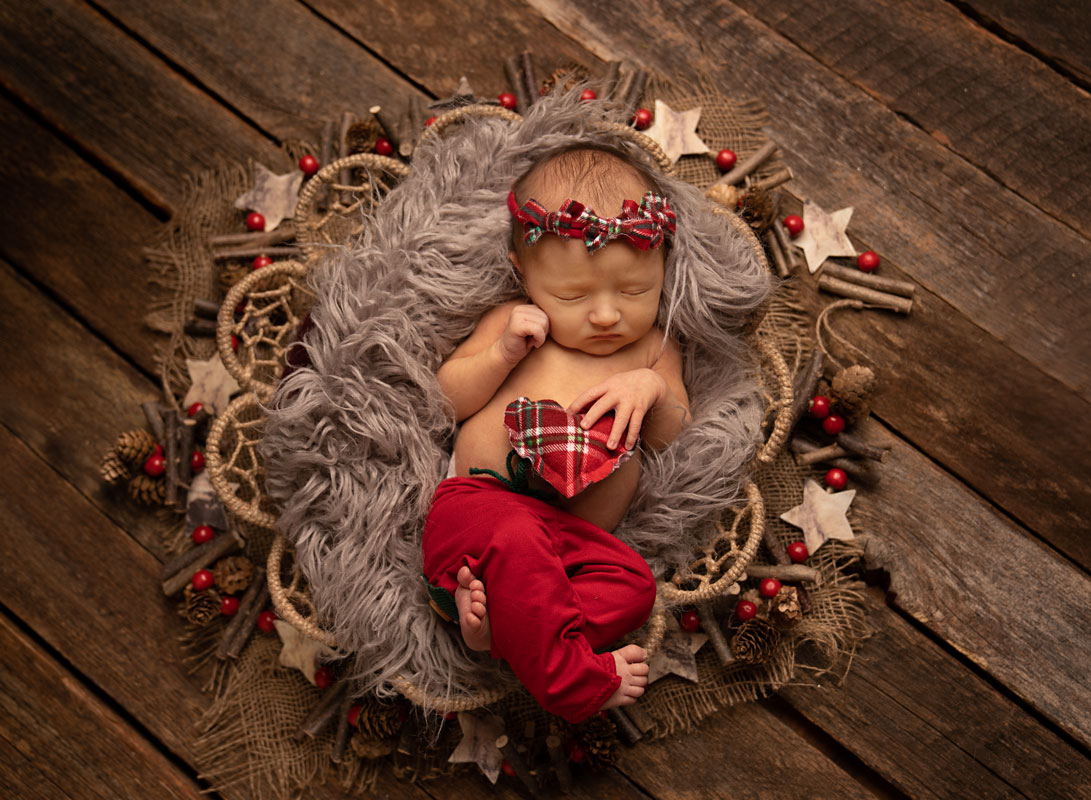 newborn girl chiristmas wreath comox valley photographer